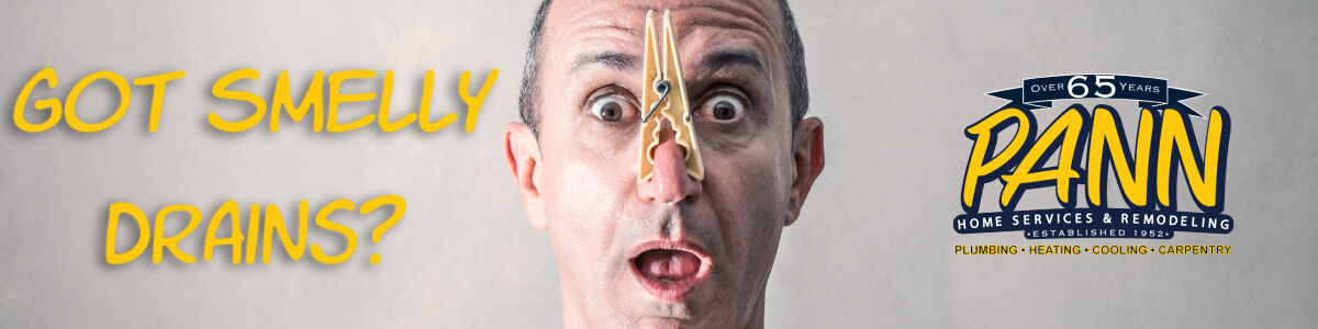 Smelly drains banner image featuring man with clothespin on nose