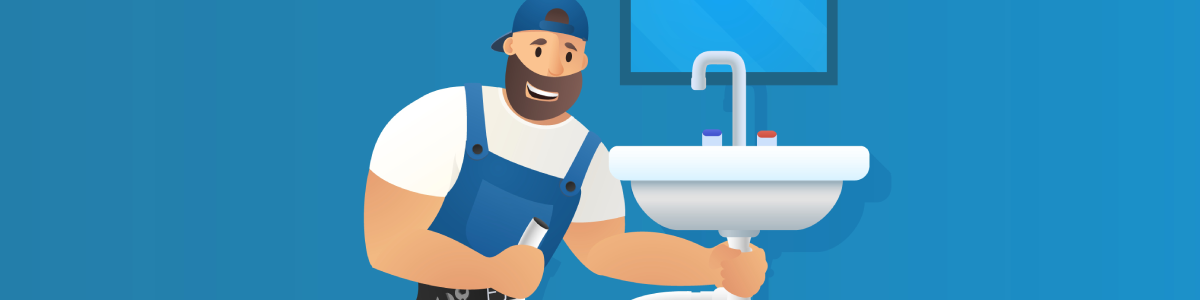 Plumbing banner image featuring cartoon Back Bay plumber